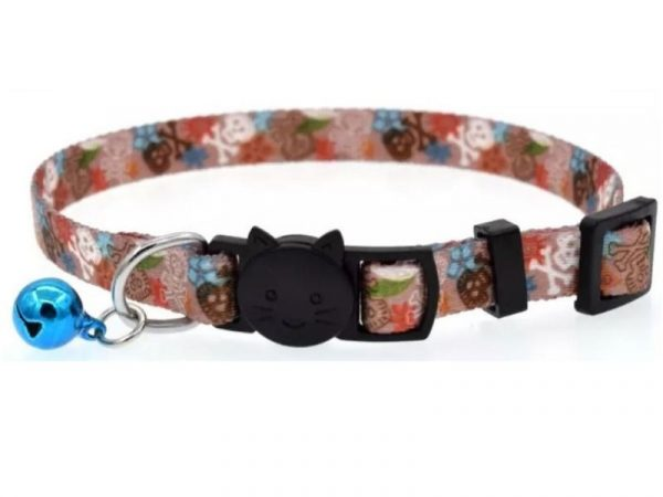 Brown Skull and Cross-bone Cat Collar