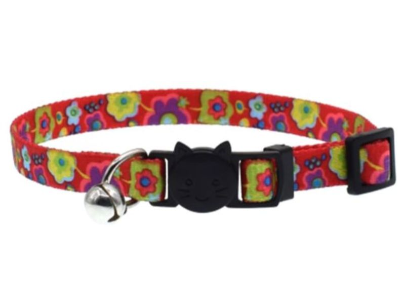 Red with Flowers Cat Collar