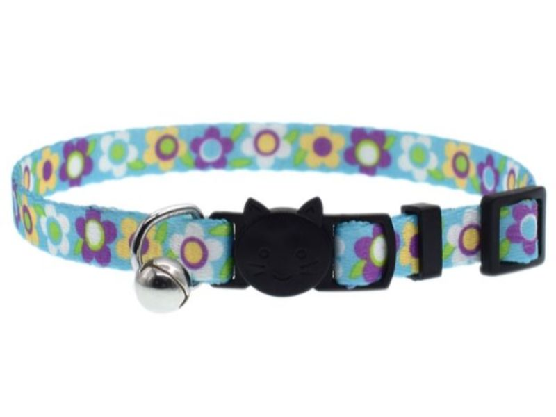 Blue with Flowers Cat Collar