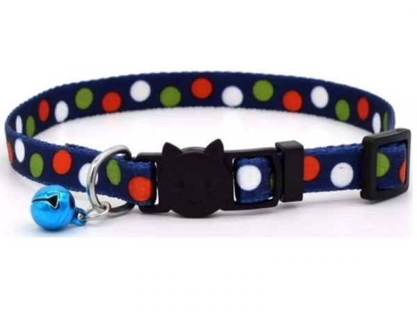 Navy Blue with Polka Dots Cat Collar