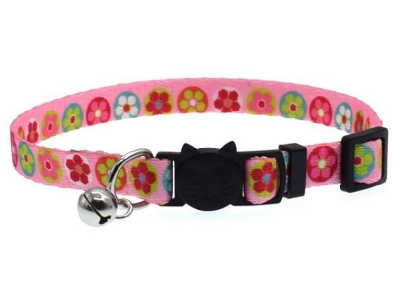 Pink with Flowers Cat Collar