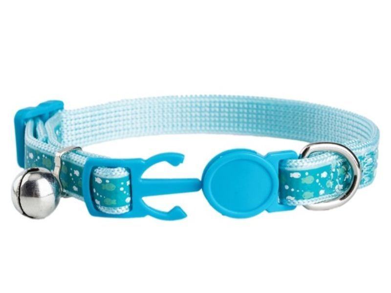 Blue with Fish Print Kitten Collar