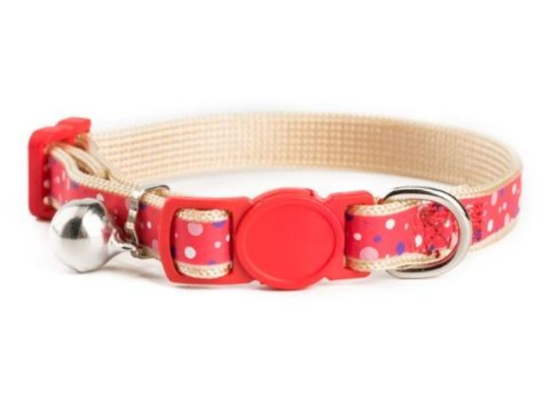 Peach with Strawberry Print Kitten Collar
