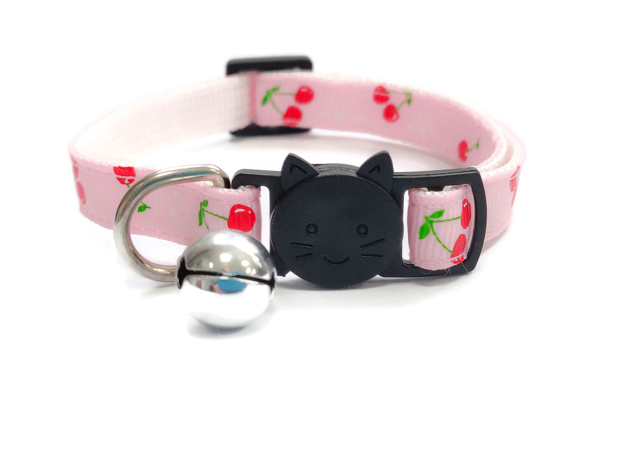 Light Pink with Red Cherries Cat Collar