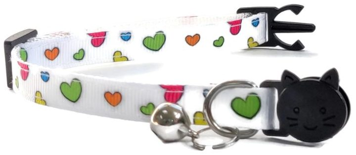 White with Multi Colour Hearts Collar