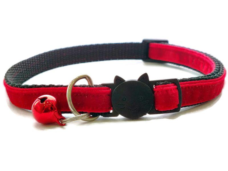 Red Velvet Cat Collar (Single Sided Velvet)