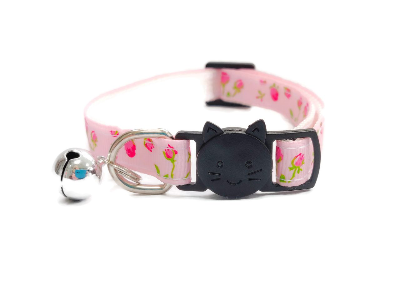 Light Pink with Red Roses Cat Collar