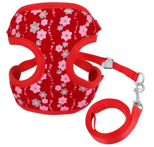 Cat Harness – Red with Flower Print