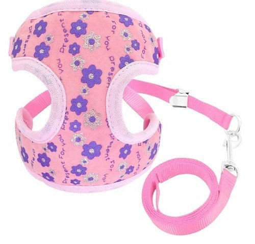 Cat Harness – Pink with Flowers