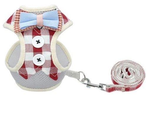 Cat Harness – Red and White Chequered with Bow Tie