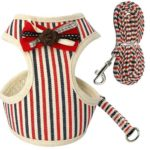 Cat Harness – Beige with Red/Blue Stripes
