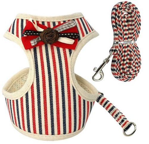 Cat Harness – Beige with Red and Blue Stripes
