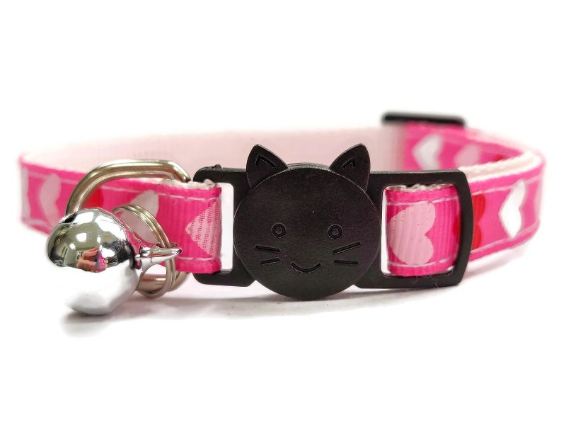 Pink with Red/White/Pink Hearts Cat Collar