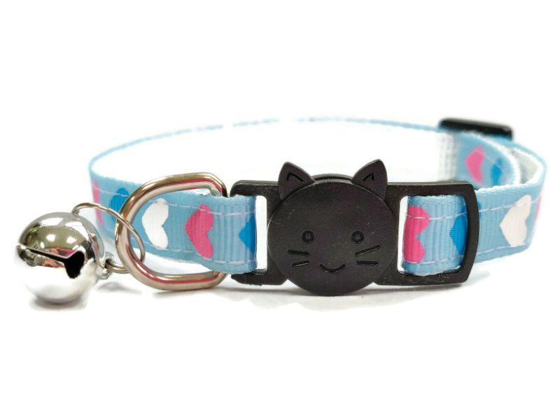 Blue with Pink/White/Blue Hearts Cat Collar