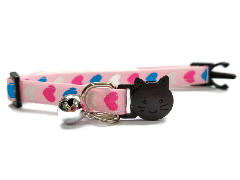 Light Pink with Pink, White, Blue Hearts Cat Collar