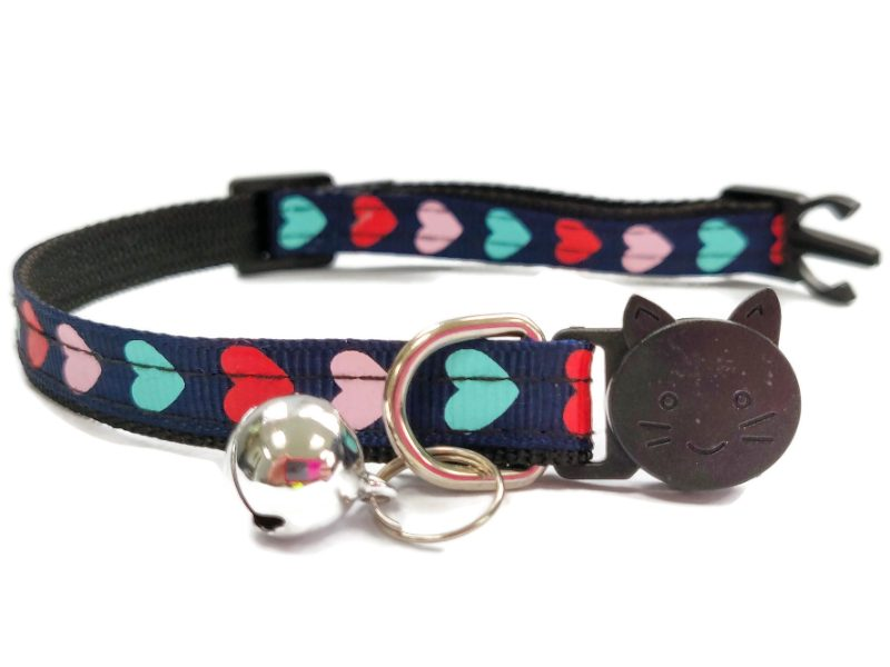 Navy Blue with Red/Pink/Turquoise Hearts