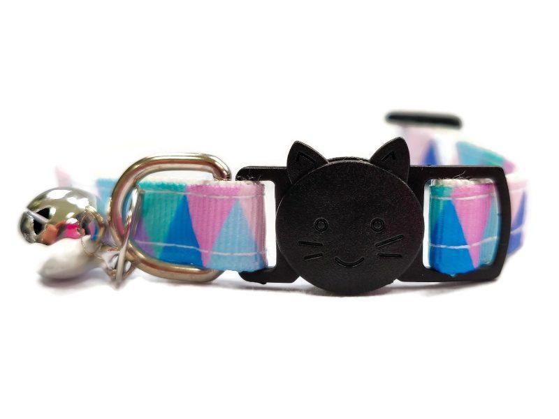 Light Multi Colour Chequered Cat Collar