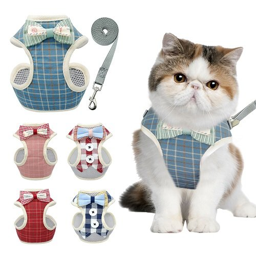 Cat Harness – Red/White Chequered with Bow Tie