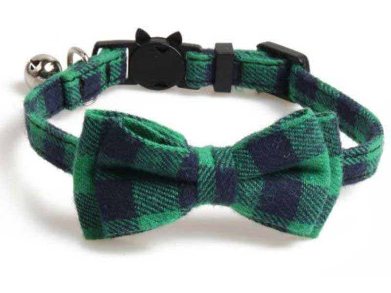 Luxury Green and Navy Blue Chequered Cat Collar