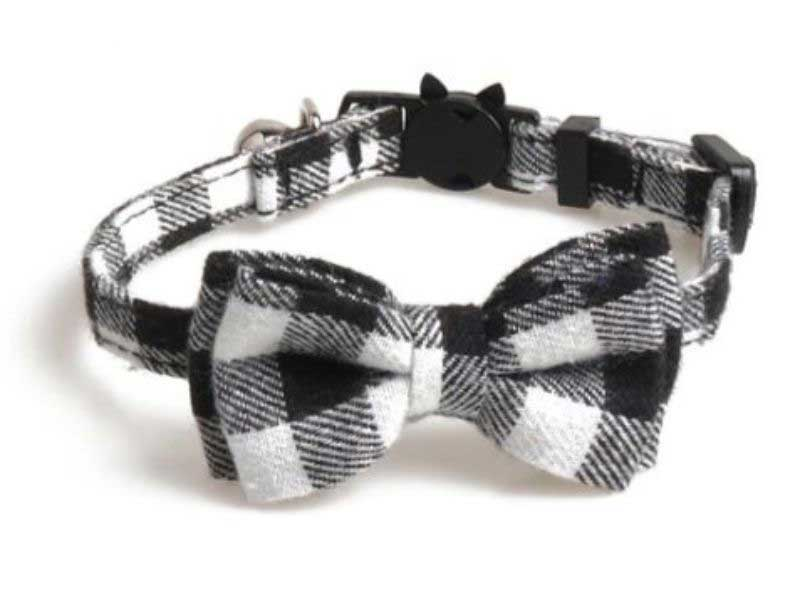 Luxury Black and White Chequered Cat Collar