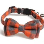 Luxury Orange and Grey Chequered Cat Collar