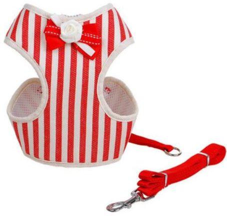 Cat Harness – Red & White Stripe w...