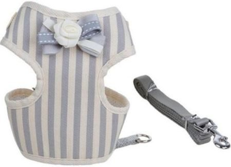 Cat Harness – Grey & White Stripe with Bow