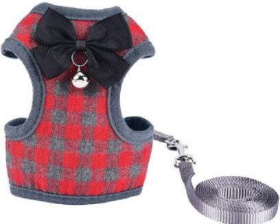Cat Harness – Red & Grey Chequered