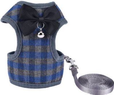 Cat Harness – Blue & Grey Chequered