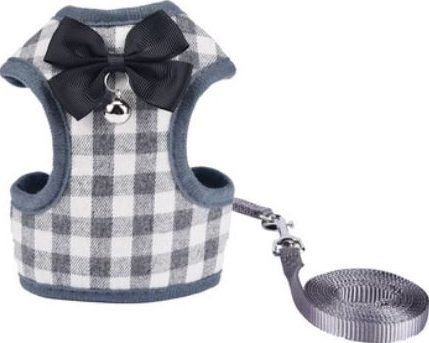 Cat Harness – Grey & White Chequered
