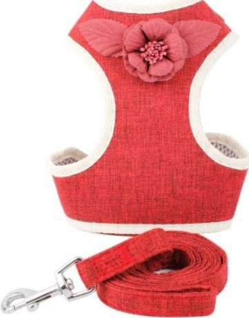 Cat Harness – Luxury Red with Flower