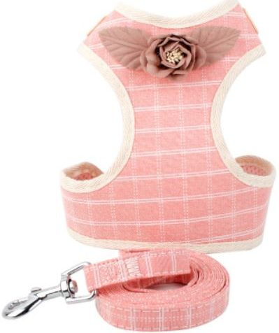 Cat Harness – Pink with White Stripes with Flower
