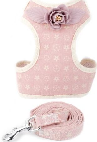 Cat Harness – Pink with Stars & Flowers with Flower