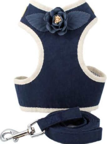 Cat Harness – Navy Blue with Flower