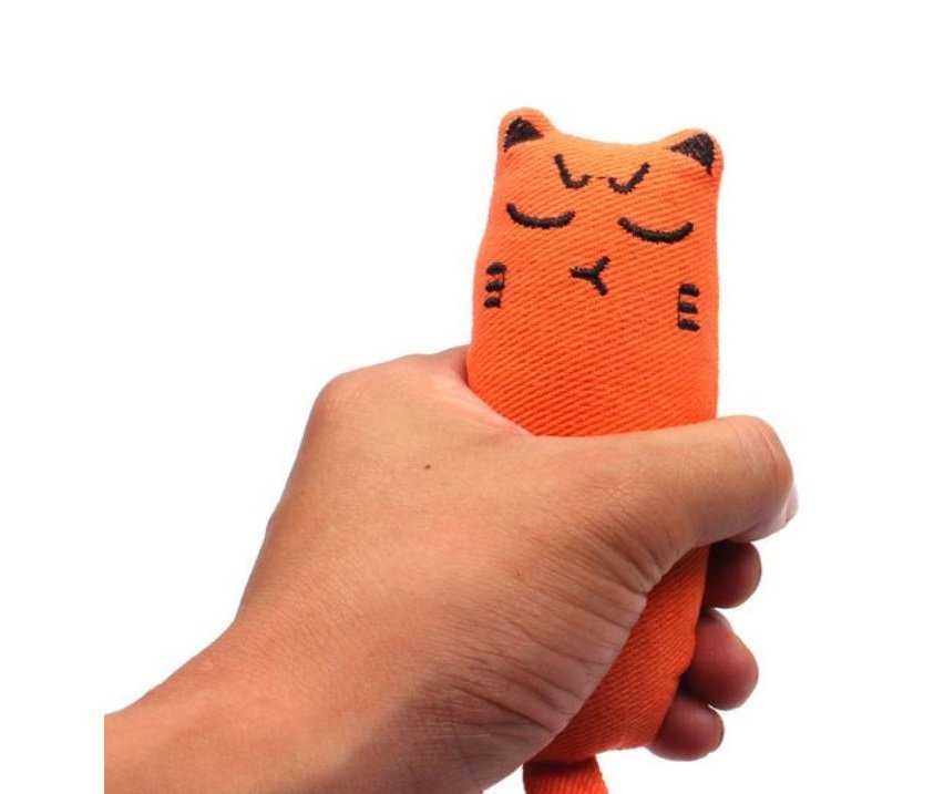 Soft Plush Cat Toy – Cat Face, Orange