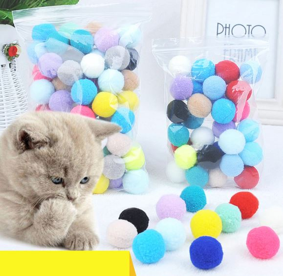 Bouncy Balls, Bite Resistant (Random) – Soft Plush Cat Toy