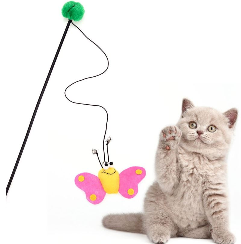 Pink Bee Butterfly Cat Toy – Cat Wands ...