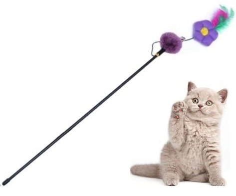 Lilac Flower with Feathers – Cat Wands & Teasers