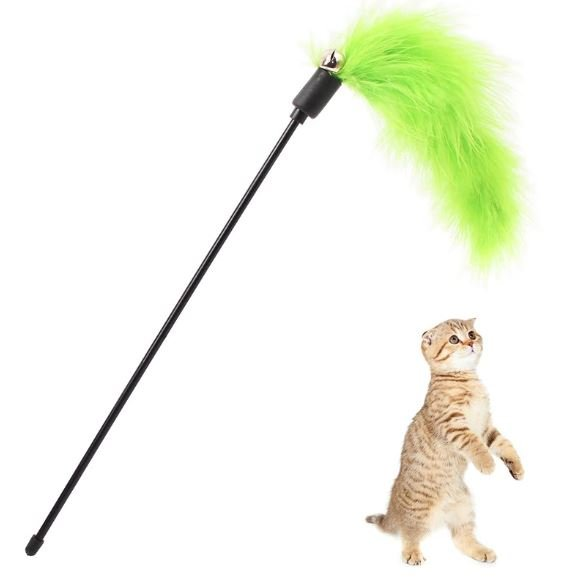 Green Feather and Bell – Cat Wands...
