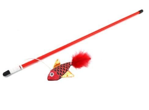 Red Fish with Feather – Cat Wands & Teasers