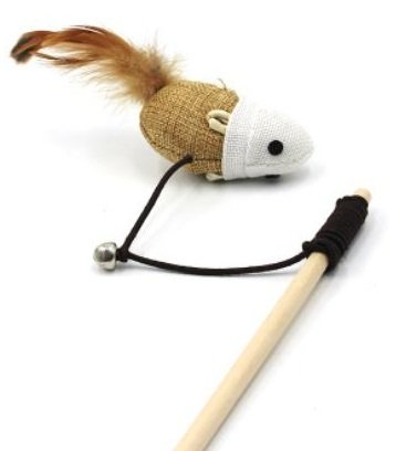 Mouse with Bell & Feather Tail – Cat Wands & Teasers