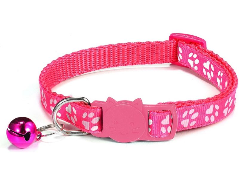 Paw Print Cat Collar, Rose (Single Pack)