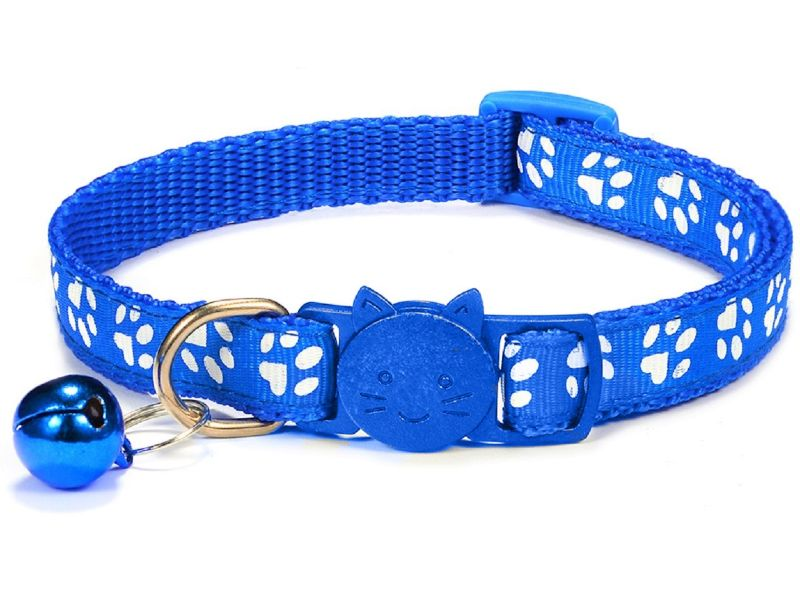 Paw Print Cat Collar, Blue (Single Pack)