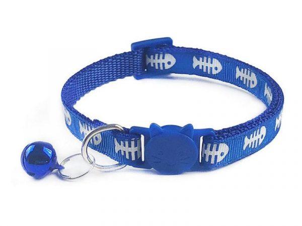 Fish Print Cat Collar – Blue