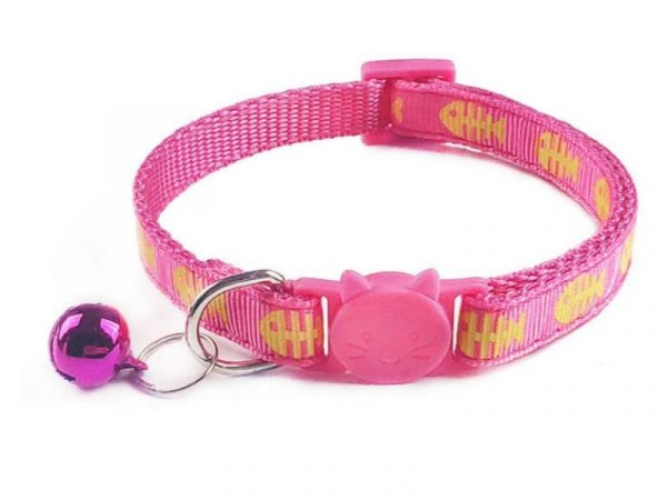 Fish Print Cat Collar – Pink