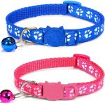 Paw Print Cat Collar, Blue & Rose (Pack Of 2)