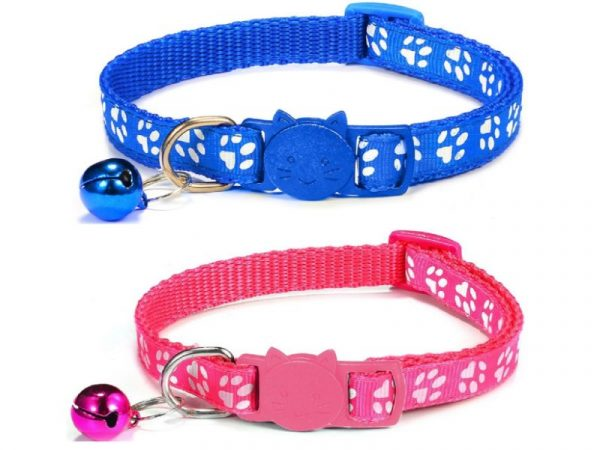 Paw Print Cat Collar – Blue and Rose