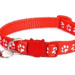 Paw Print Cat Collar, Red (Single Pack)