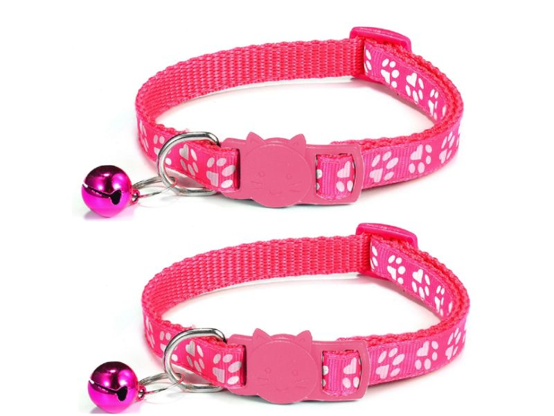 Paw Print Cat Collar, Rose & Rose (Pack Of 2)