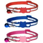 Reflective Cat Collar, Red/Blue/Rose (Pack of 3)